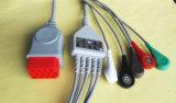 Câble rouge du connecteur 12pin 5 ECG de Bionet Snap&Clip