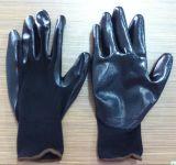 gant de travail enduit par nitriles de couleur de noir de doublure du polyester 13G