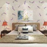Nahtlose klassische Luxuxfeder-prägentapeten-Gewebe-Hotel-Schlafzimmer-Wohnzimmer