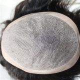 Toupee mince indien de peau de cheveux humains pour les hommes