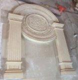 Mensola del camino del camino della scultura dell'arenaria di stile dell'Europa per le decorazioni domestiche