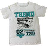 T-shirt 100% de garçon de coton chez des vêtements des enfants avec l'impression Sqt-602