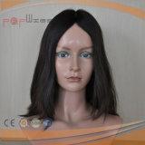 Peluca atada mano de gama alta europea de la tapa del cuero cabelludo del cortocircuito del pelo de Remy de la Virgen