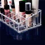Cas cosmétique en plastique clair de renivellement d'organisateur de présentoir de support de rouge à lievres de l'acrylique 24