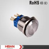 Interruptor de pulsador momentáneo anti del acero inoxidable del vándalo del Ce ISO9001 22m m con la iluminación del anillo LED
