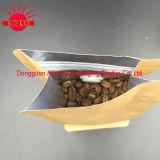 Alle Arten Kaffee-Beutel mit Ventil u. Zinn-Tae mit mit Reißverschluss/Fastfood-/Aluminiumfolie/flacher Unterseite/Braunem Packpapier