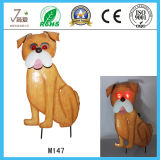 Cute Iron Dog Garden Decoration com luz solar