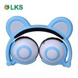 빛을내는 LED를 가진 아이를 위한 부과되어야 하는 다채로운 새로운 타전된 Foldable 곰 귀 헤드폰