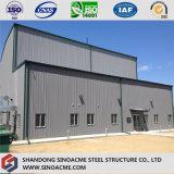 Magazzino della costruzione del metallo della struttura d'acciaio con l'ufficio