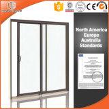Calidad de cristal doble y ventana de desplazamiento barata para el apartamento, ventana de deslizamiento de aluminio de madera sólida del estilo de Norteamérica