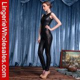 Kostuum van Jumpsuit van het Leer van de Ritssluiting Catsuit van de Vrouwen van de manier het Zwarte Sleeveless Achter