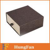 Rectángulo de empaquetado de papel de lujo del cajón de la cabina con insignia de sellado caliente
