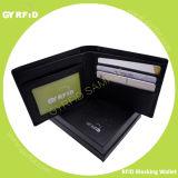 Кожа мыжского дела неподдельная защищая владельца карточки кредита в банке скеннирования бумажника RFID NFC анти- магнитный анти-
