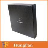 Rectángulo de regalo de papel de lujo del negro de encargo de la insignia/rectángulo de empaquetado/rectángulo de papel