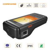 Atendimento de tempo de impressão digital com impressora e cartão RFID com faixa magnética