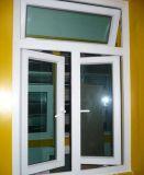 Ventana de cristal modificada para requisitos particulares del marco del PVC de la Doble-Hoja con diseño de la parrilla del surtidor en Zhejiang, China (PCW-029)