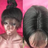 parrucca diritta crespa dei capelli umani della parte anteriore del merletto del grado 8A per la donna di colore