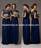 Nueva dama de honor de los vestidos de la Marina Fiesta Imperio de gasa azul de encaje vestidos de noche de E139131