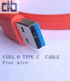 USB3.0 tipo - cable de alambre plano de C, estándar de Current~3A USB3.0, L=1m, cable del ordenador