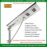 Nueva lámpara toda de Outdor del diseño en una luz de calle solar integrada solar de la luz de calle 8W 10W 20W 25W 30W 40W 50W