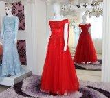 Neue Form-bördelte heißer Verkaufs-Fußboden-Längen-Schatz-Organza Abschlussball-Kleid mit abnehmbarer Serie (WD86)