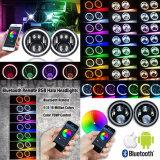7개 인치 LED 헤드라이트 RGB 달무리 반지 천사는 지프 Jk를 위해 원격 제어 다색 DRL Bluetooth의 둘레에 주목한다