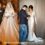 Strapless Lace Bridal Gowns Mermaid Buttons Voltar vestido de casamento M2017