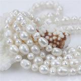 Collar con cadena larga de los granos de la perla de la dimensión de una variable 47inches de la patata y del arroz