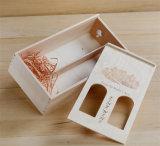 Glissement du cadre en bois de pin de couvercle pour le vin avec le guichet