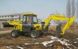 Addetto al caricamento dell'escavatore a cucchiaia rovescia di costruzione della terra mini della macchina commovente dell'assistente tecnico
