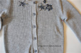Кардиган свитера Knit втулки детей длинний с кнопкой