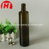 Dunkelgrüne Glasolivenöl-Flasche mit Schutzkappen