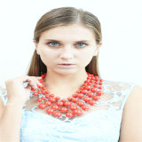 De nieuwe Halsband van de Armband van de Oorring van de Juwelen van de Manier van de Parels van het Punt Rode Acryl