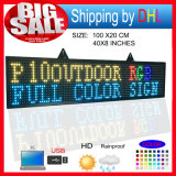 P10 RGB 옥외 풀 컬러 발광 다이오드 표시 Programmablefor LED는 크기 39X8 인치 LED 두루말기 표시 전보국을 서명한다
