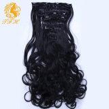 Clip 7A Grado onda del cuerpo de las extensiones del pelo brasileño de la Virgen del pelo humano de 7pcs / Set 16inch a 22inch en la acción natural de color Negro