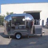 Carrelli mobili dell'alimento del chiosco del carrello mobile nero dell'alimento da vendere il carrello ed il chiosco di vendita della via