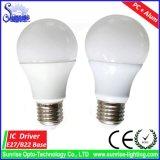 luz de bulbo do diodo emissor de luz de 85lm/W E27/B22 A60/A19 7W