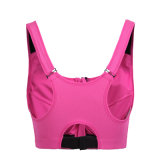 Reggiseno di yoga di Activewear dello Spandex della chiusura lampo delle donne di nylon rovesciabili della parte anteriore