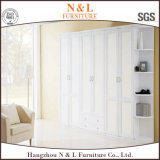 Grand cabinet en bois de garde-robe avec les portes en verre
