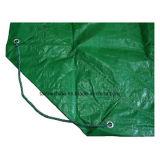 졸라매는 끈을%s 가진 녹색 까만 야드 방수포