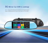 cámara de rectángulo negro original del monitor del espejo retrovisor del coche 3G de la pantalla táctil 7inch con la tarjeta C08 de SIM