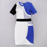 Blue& 백색 빈 반 소매 Bodycon 포장 진보적인 우아한 여자 Dresss