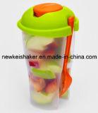 copo plástico do abanador do copo da salada do produto comestível 3-in-1