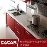 De rode Keukenkast van pvc van het Begrijpen van het Blad van de Esdoorn Rode Plastic (CA09-01)