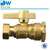 Brass Ball Valve for Water Meter with Male and Free Nut