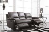 Sofá de la sala de estar con el sofá moderno del cuero genuino fijado (654)