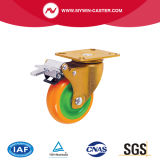 4 Zoll-Verlegenheits-Platten-Grün-Kern-Gelb PU-industrielle Fußrolle