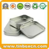 Прикрепленные на петлях обыкновенные толком серебряные коробки прямоугольника олова в случай подарка металла