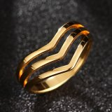 Anel de dedo Shaped mergulhado das mulheres do aço inoxidável V da jóia da forma