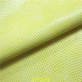 Couro sintético do plutônio da grão da serpente para sapatas e sacos